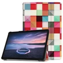 Kleurrijke magische kubus patroon horizontaal flip PU lederen Case voor Galaxy Tab S4 10.5 / T835  met drie-vouwen houder & slaap / Wake-up functie