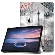 Retro toren patroon horizontaal flip PU lederen Case voor Galaxy Tab S4 10.5 / T835  met drie-vouwen houder & slaap / Wake-up functie