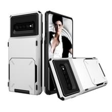 Schokbestendige TPU + PC beschermende Case voor Galaxy S10  met kaartslot (wit)