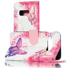3D roze vlinders patroon horizontale Flip PU lederen case voor Galaxy S10e  met houder & card slots & portemonnee & fotolijst