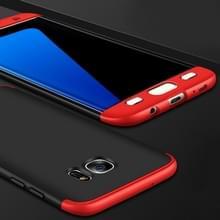 Samsung Galaxy S7 Edge volledig bedekkend Kunststof GKK back cover Hoesje (zwart + rood)