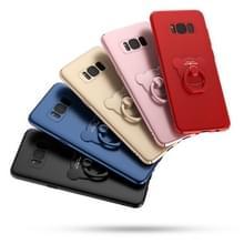 AIQAA voor Galaxy S8 PLUS / G955 effen kleur metaal verf Plastic PC Dropproof beschermhoes met dragen Ring Holder(Red)