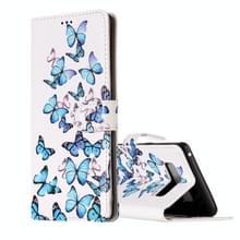 Voor Galaxy Note 8 kleine blauwe vlinders horizontale Flip lederen draagtas met houder & kaartsleuven & portemonnee