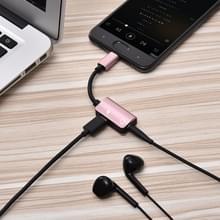 2 in 1 kabel Fast charge type-C mannelijk naar type-C vrouwelijk + 3.5 mm Female Jack koptelefoon adapter Converter  ondersteunt audio en opladen  lengte: 12cm (rosé goud)