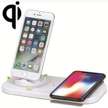 USB naar 3 in 1 (8 Pin + Micro USB + USB-C / Type-C) dok lader Desktop Data Sync Stand Station houder opladen met de Qi Wireless Charger & USB-kabel