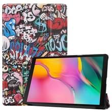 Custer Graffiti structuurpatroon gekleurde tekening horizontaal flip lederen Case voor Galaxy Tab een 10.1 2019  met drie-vouwen houder & slaap / Wake-up functie