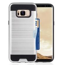 Samsung Galaxy S8 TPU + plastic beschermend back cover Hoesje met opbergruimte voor pinpas (zilverkleurig)