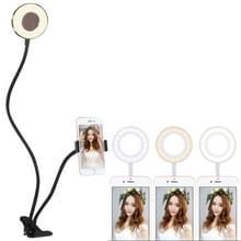 Clip stijl universele GSM houder beugel Selfie Ring Light met 3-kleur licht aanpassen  voor Studio opname Live uitzending  Live Show  KTV  etc.(Black)