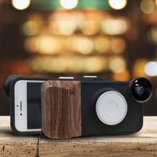 RK23 voor iPhone 6 & 6S 9 niveaus van helderheid Selfie vullen licht telefoon Beautycase  met groothoek + Macro en Fisheye-Lens(Black)