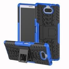 Band textuur TPU + PC schokbestendige Case voor Sony Xperia XA3  met houder (blauw)
