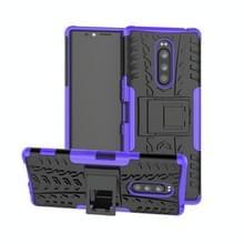Tire Texture TPU + PC schokbestendig Case voor Sony Xperia 1/Xperia XZ4  met houder (paars)