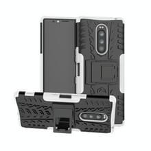 Tire Texture TPU + PC schokbestendig Case voor Sony Xperia 1/Xperia XZ4  met houder (wit)