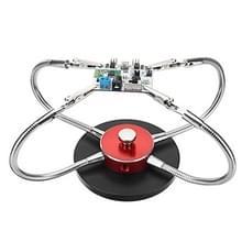 Universal metal base soldeer station PCB armatuur (4 metalen armen + ronde ijzeren basis + aluminium base) (rood)