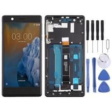 LCD-scherm en digitizer volledige montage met frame & Zijkleutels voor Nokia 3 TA-1032 (zwart)