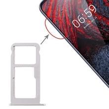 SIM-kaartlade + SIM-kaartlade / Micro SD-kaartlade voor Nokia X6 (2018) / TA-1099 / 6.1 Plus (Wit)