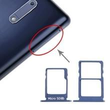 SIM-kaartlade + SIM-kaartlade + Micro SD-kaartlade voor Nokia 5 / N5 TA-1024 TA-1027 TA-1044 TA-1053 (Blauw)