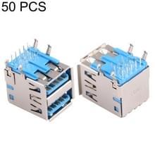 50 stuks 90 graden USB 3.0 recipiënt Connector in dubbele Dip Type