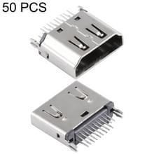 50 stuks 180 graden 19 Pin Type A vrouwelijke Clip Board Type nikkel HDMI-Connector
