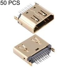 50 PCS 180 Degrees 19 Pin Type A Female Clip Board Type Gold HDMI Connector