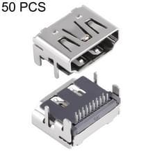 50 stuks 90 graden 2 rijen 19 pins HDMI vrouwelijke DIP Jack Socket Connector