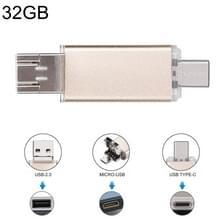 32GB 3-in-1 USB-C / OTG  Type-C + USB 2.0 Flash Disk  voor Smartphones van de Type-C & PC Computer (goud)