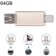 64GB 3-in-1 USB-C / OTG  Type-C + USB 2.0 Flash Disk  voor Smartphones van de Type-C & PC Computer (goud)