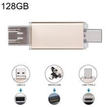 128GB 3-in-1 USB-C / OTG  Type-C + USB 2.0 Flash Disk  voor Smartphones van de Type-C & PC Computer(Gold)