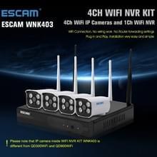 ESCAM WNK403 4 kanaals 720P 1/ 4 inch CMOS 1.0 Mega Pixel WiFi Bullet IP Camera NVR Kit  steun Night Vision / bewegingsdetectie