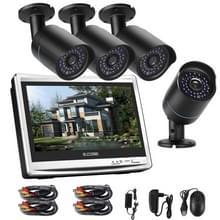 COTIER A4B5-P12/Kit 4 kanaals 720P 1.0 megapixel 4 x Bullet AHD camera's 12 5 inch LCD scherm DVR Kit  steun Night Vision / bewegingsdetectie  IR afstand: 20m