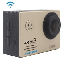 HAMTOD HF60 UHD 4K WiFi 16.0MP Sport Camera met waterdicht geval Generalplus 4247  2.0 duim LCD-scherm  120 graden groothoek Lens  met eenvoudige Accessories(Gold)