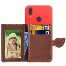 Blad gesp Litchi textuur kaarthouder PU + TPU Case voor Xiaomi Redmi Note 7  met kaartsleuf & houder & portemonnee & fotolijstjes (rood)