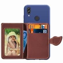 Blad gesp Litchi textuur kaarthouder PU + TPU Case voor Xiaomi Redmi Note 7  met kaartsleuf & houder & portemonnee & fotolijstjes (blauw)