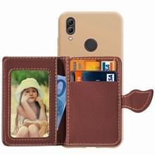 Blad gesp Litchi textuur kaarthouder PU + TPU Case voor Xiaomi Redmi Note 7  met kaartsleuf & houder & portemonnee & fotolijstjes (bruin)
