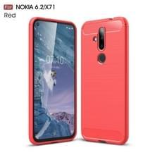 Geborsteld textuur koolstofvezel TPU Case voor Nokia 6 2/X71 (rood)