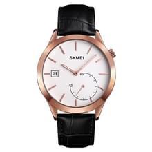 SKMEI 1581 Creative Fashion Men Watch Simple Casual Outdoor Sports Waterproof Two-Pin Quartz Watch (Rose Gold Black)