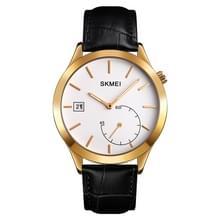 SKMEI 1581 Creative Fashion Men Watch Simple Casual Outdoor Sports Waterproof Two-Pin Quartz Watch (Gold Black)