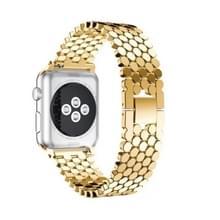 Voor Apple Watch Series 5 & 4 44mm / 3 & 2 & 1 42mm Honeycomb Stainless Steel Watchband Strap(Goud)