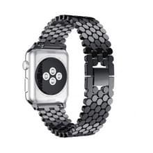 Voor Apple Watch Series 5 & 4 40mm / 3 & 2 & 1 38mm Honeycomb Stainless Steel Strap(zwart)