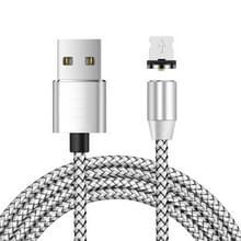 USB naar 8 Pin Magnetic Metal Connector Nylon Two-color Gevlochten magnetische datakabel  kabellengte: 1 m (zilver)