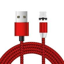 USB naar 8 Pin Magnetic Metal Connector Nylon Two-color Gevlochten magnetische datakabel  kabellengte: 2 m (rood)