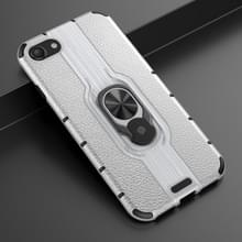Voor iPhone SE 2020 / 8 / 7 Schokbestendige PC + TPU-hoesje met ringhouder(Zilver)