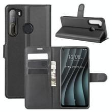 Voor HTC Desire 20 Pro Litchi Texture Horizontale Flip Beschermhoes met Holder & Card Slots & Wallet(Zwart)