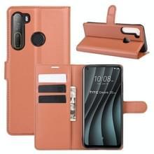 Voor HTC Desire 20 Pro Litchi Texture Horizontale Flip Beschermhoes met Holder & Card Slots & Wallet(Bruin)