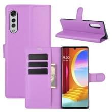 Voor LG Velvet Litchi Texture Horizontale Flip Beschermhoes met Holder & Card Slots & Wallet(Paars)