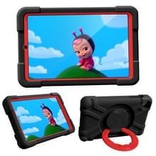 Voor Galaxy Tab A 8.4 (2020) T307 PC + Siliconen Schokbestendige Combinatiecase met 360 graden roterende houder & handgreep(Zwart + Rood)