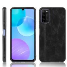 Voor Huawei Honor 30 Youth/Honor 30 Lite Schokbestendige naaikoeienpatroon skin PC + PU + TPU case(zwart)