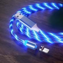 USB naar 8 Pin Magnetische Zuiging Kleurrijke Streamer Mobiele Telefoon Oplaadkabel  Lengte: 1m (Blauw licht)