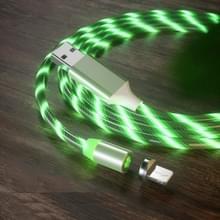 USB naar 8 Pin Magnetische Zuiging Kleurrijke Streamer Mobiele Telefoon Oplaadkabel  Lengte: 1m (Groen licht)