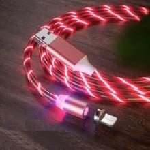 USB naar 8 Pin Magnetische Zuiging Kleurrijke Streamer Mobiele Telefoon Oplaadkabel  Lengte: 1m (Rood licht)