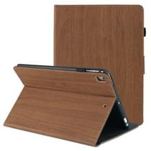 Voor iPad 9 7 inch 2017 / 2018 Houtnerf PU Leder + TPU Soft Bottom Case met Holder & Sleep / Wake-up Functie(Donkerbruin)